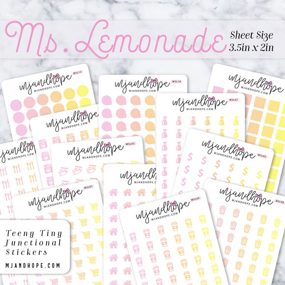 Ms. Lemonade | Teeny Tiny Functional Stickers - MJ and Hope