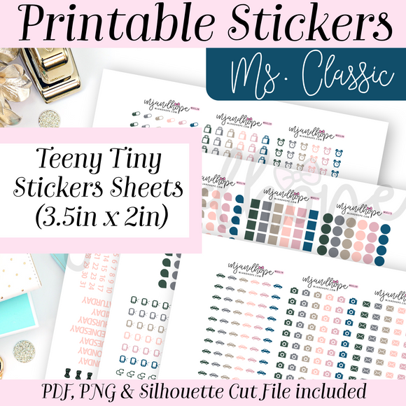 Ms. Classic Teeny Tiny Sticker Set - PRINTABLE STICKERS - MJ and Hope