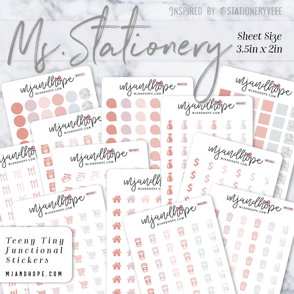 Ms. Stationery | Teeny Tiny Functional Stickers - MJ and Hope