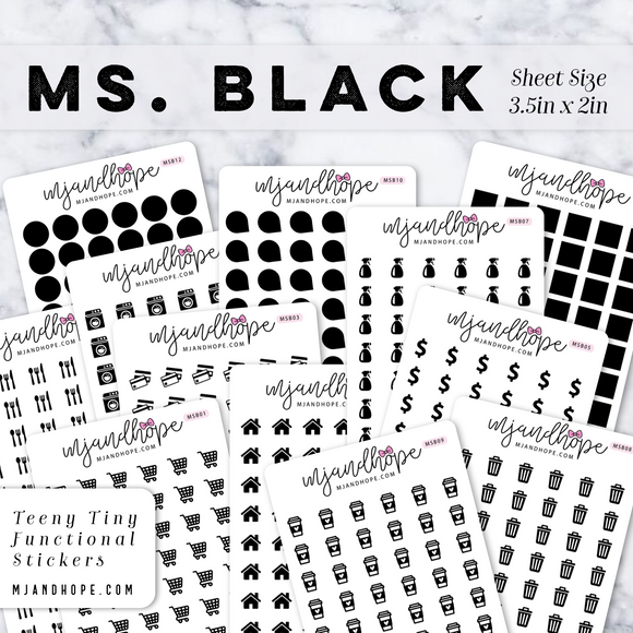 Ms. Black | Teeny Tiny Functional Stickers - MJ and Hope