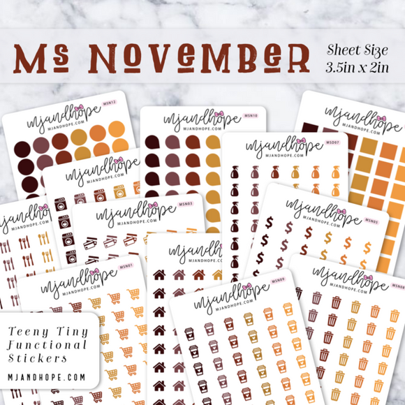 Ms November | Teeny Tiny Functional Stickers - MJ and Hope