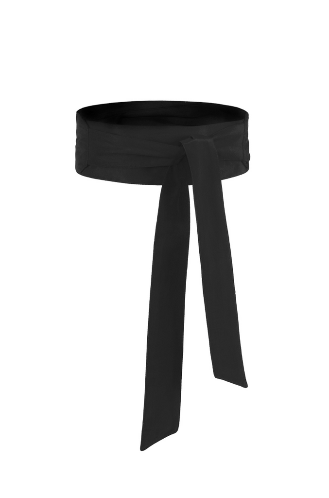 Black Pure Silk Sash