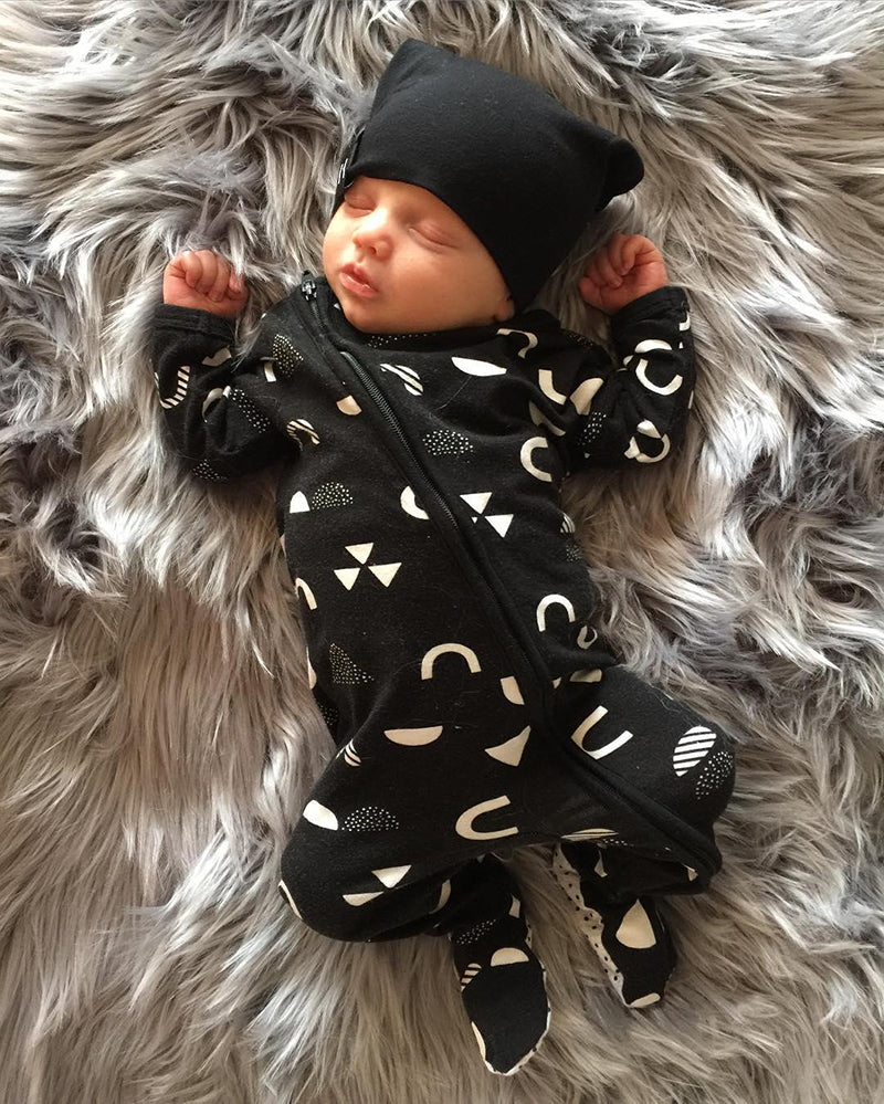 Black Cotton Baby Boy Zipper