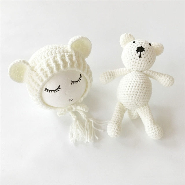 Knit Beanie Cap + Bear Toy
