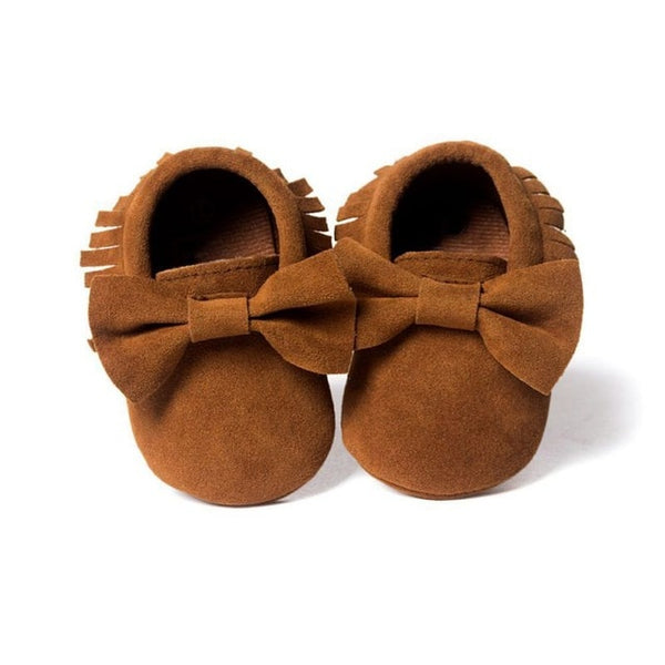 Baby Boys Girls Tassel Bow Soft Sole PU Leather Loafers Moccasin Sneakers