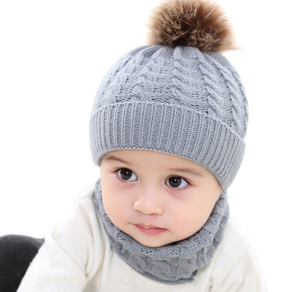 27d074757a6b9 Baby Hat Scarf Winter Fur Ball Knitted Warm Newborn Beanie