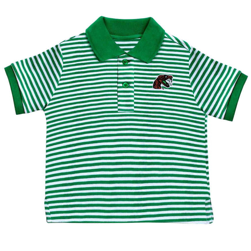 FAMU Green/White Striped Toddler Polo Shirt - HBCUprideandjoy