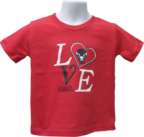 """LOVE"" Howard University Girls' T-Shirt with Bling - HBCUprideandjoy"