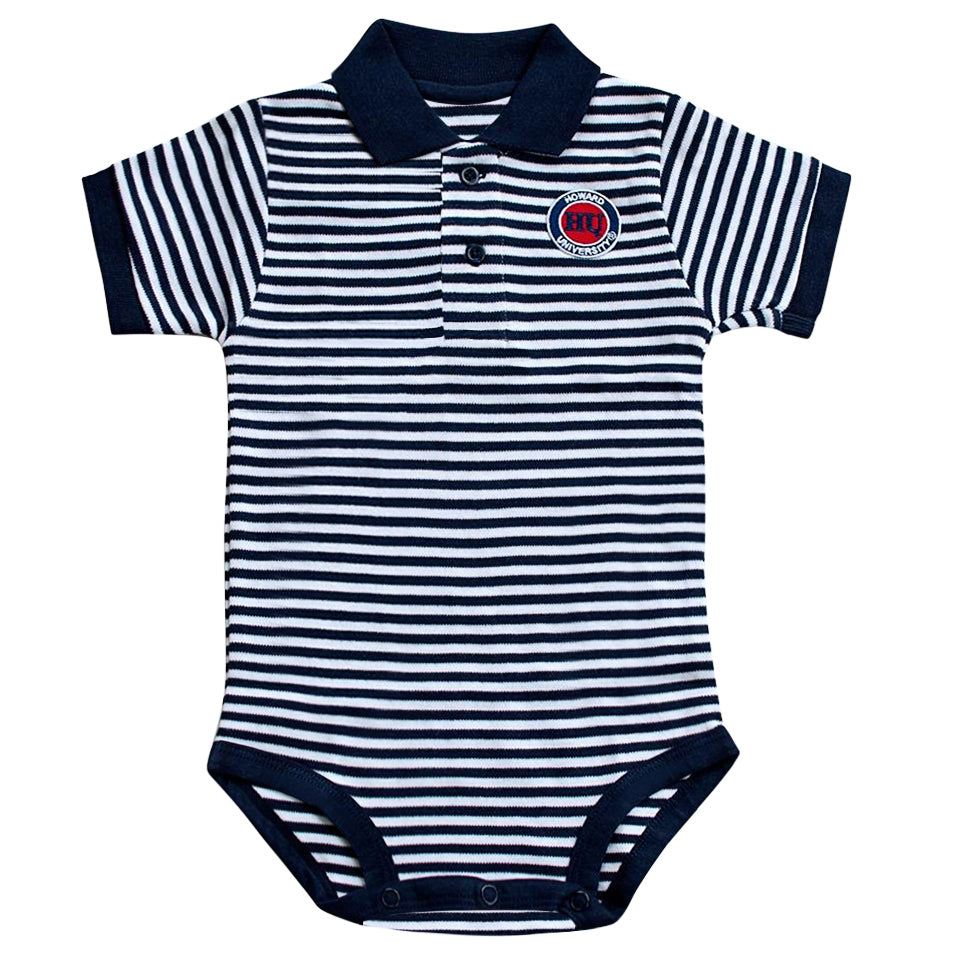 HU Striped Polo Onesie - HBCUprideandjoy
