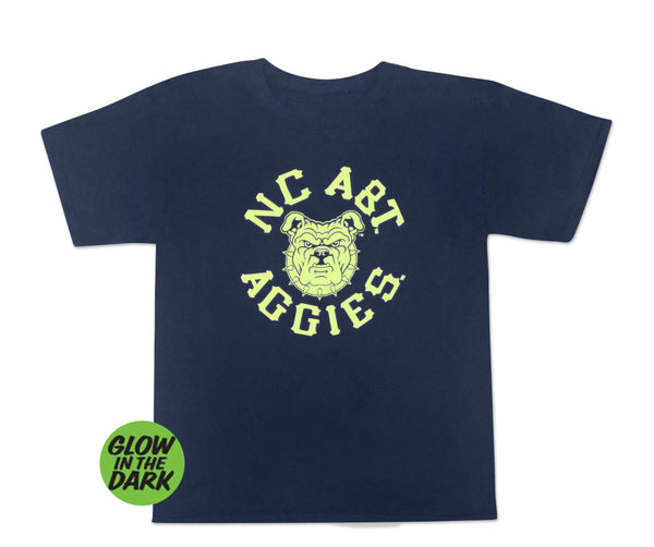Aggie Boo Glow in the Dark Youth T-Shirt Navy - HBCUprideandjoy