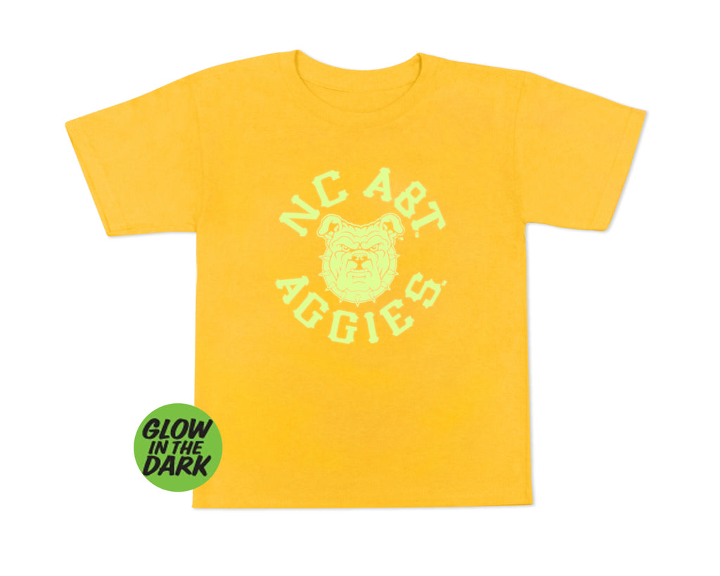 Aggie Boo Glow in the Dark Youth T-Shirt Gold - HBCUprideandjoy