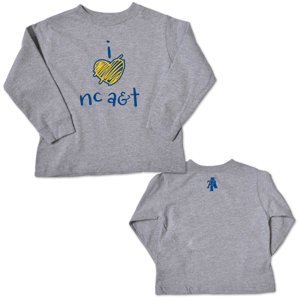 I Love A&T Game Night Long Sleeve T-Shirt Gray - HBCUprideandjoy