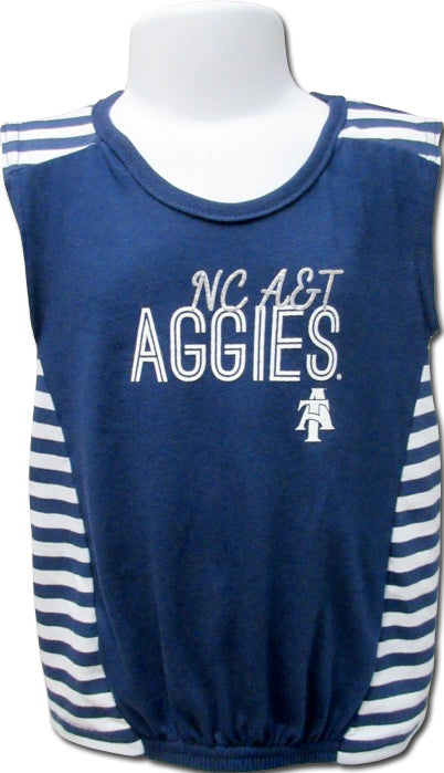 NC A&T Striped Princess Gather Front Tee