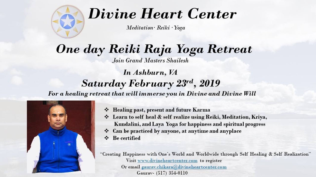Reiki Raja Yoga Level I & II Seminar - 23-Feb - Ashburn, VA