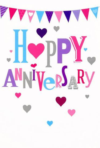 Colourful Happy Anniversary Card