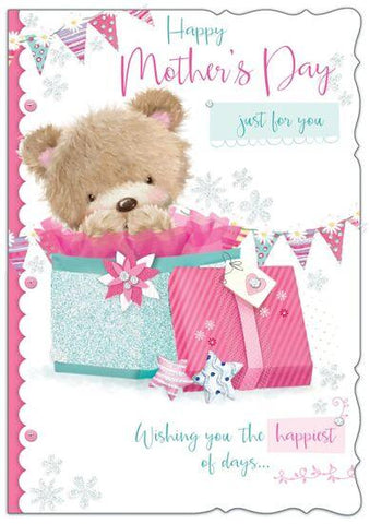 Happy Mothers Day Just For You Card Cute Teddy