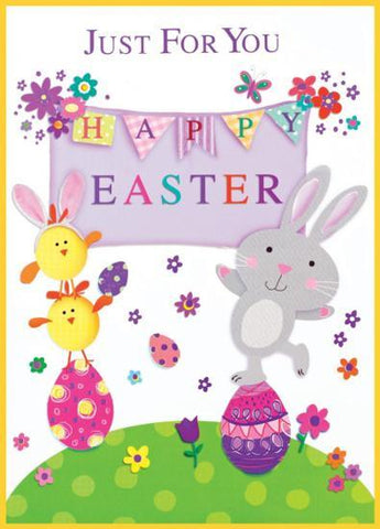 Just For You Happy Easter Bunny and Chick Card