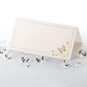 Elegant Butterfly Place Cards - Ivory & Gold - Pack of 50