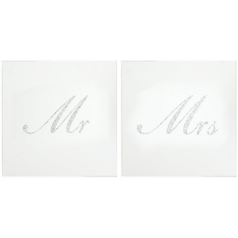 Mr & Mrs Glass Glitter Coaster Gift Set