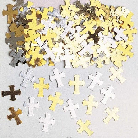 Gold and Silver Crosses Table Confetti