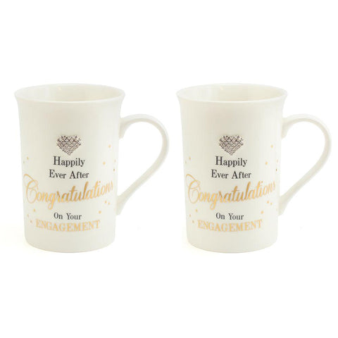 Gold Dots Set of Two Engagement Mugs