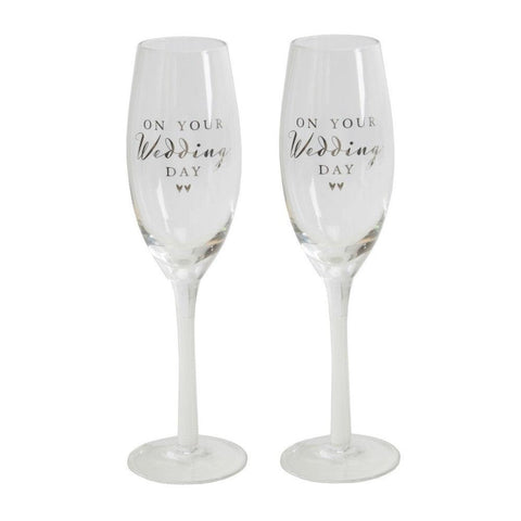 On Your Wedding Day Champagne Flutes
