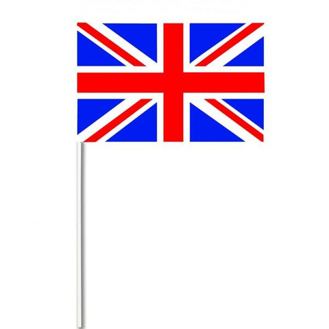 White Plastic Stick Union Jack Paper Hand Waving Flags