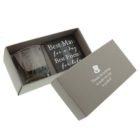Best Man Whisky Glass And Coaster Set