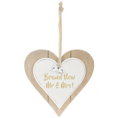 Double Heart Brand New Mr & Mrs Plaque
