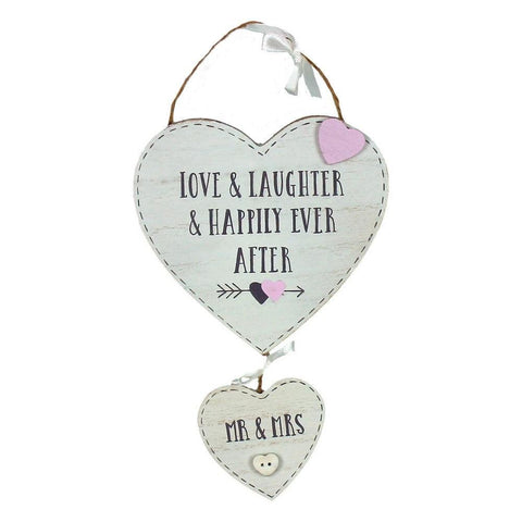 Love Story Hanging Double Hearts - 'Mr & Mrs'