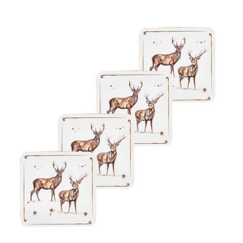 Winter Stags set of 4 Coasters