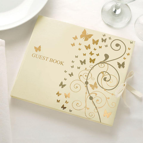 Elegant Butterfly Guest Book- Ivory & Gold