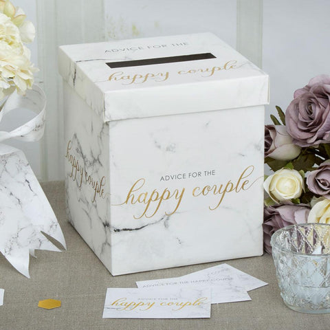 Scripted Marble Wedding Wishes Box