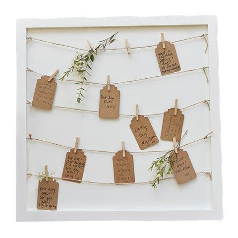 Wooden Peg & String & Tag Frame Guest Book Alternative