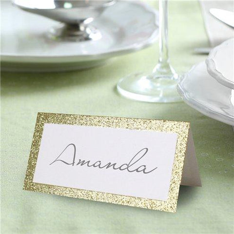 50 Gold Glitter Border Place Cards