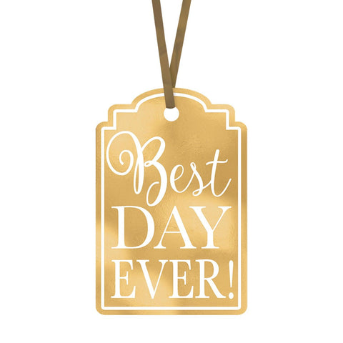 Gold Best Day Ever Tags - Pack of 25