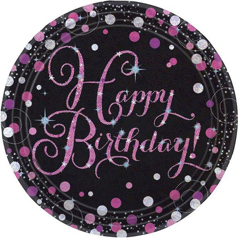Happy Birthday Pink Celebrations Paper Plates