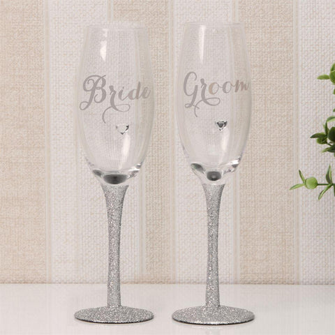 Silver Sparkling Champagne Flutes Set of 2 - Bride & Groom