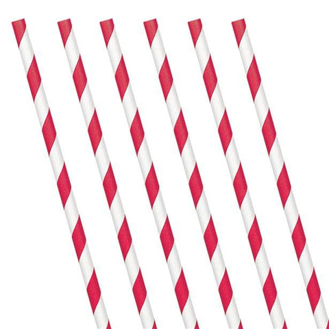 Red and White Stripe Paper Straws