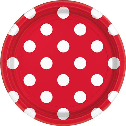 Red Polka Dot Paper Plates 23cm