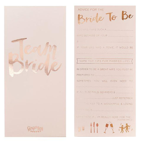 Pink and Rose Gold Team Bride Advice Cards