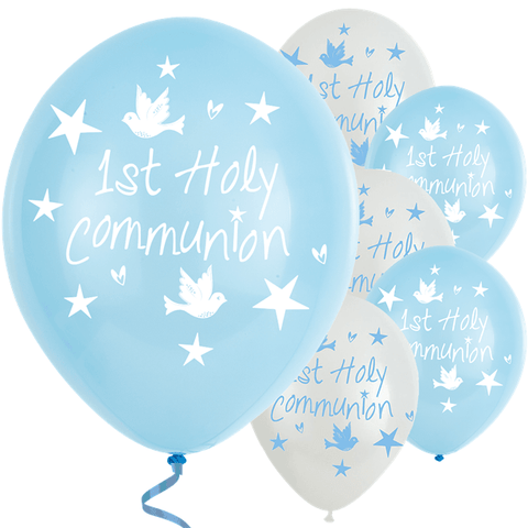 Blue and White First Holy Communion Balloons-6pk