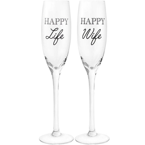 Happy Wife Happy Life Champagne Flutes Set of 2