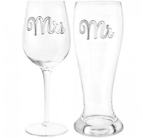 Mr & Mrs Beer & Wine Glass Set