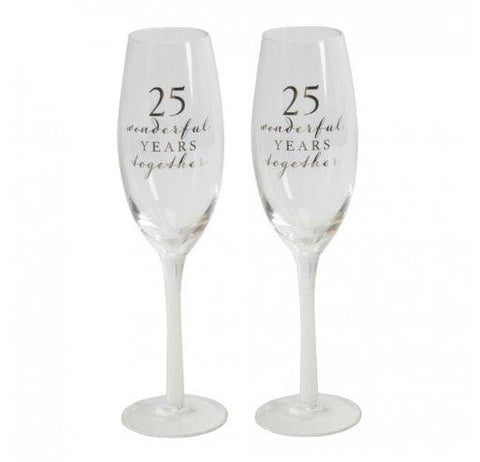 Amore Champagne Flutes-25th Anniversary-Set of 2