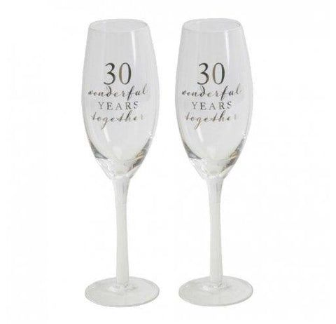 Amore Champagne Flutes-30th Anniversary-Set of 2