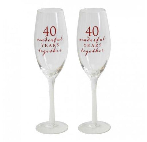 Amore Champagne Flutes-40th Anniversary-Set of 2