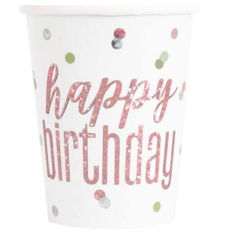 Happy Birthday Glitz Rose Gold Paper Cups
