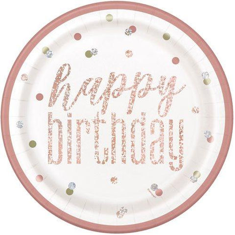 Happy Birthday Glitz Rose Gold Paper Plates