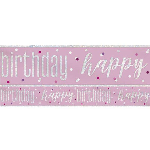 Happy Birthday Glitz Pink & Silver Foil Banner